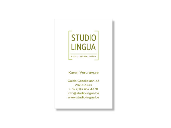 Visitekaartje Studio Lingua door Annabel Bruneel Graphics